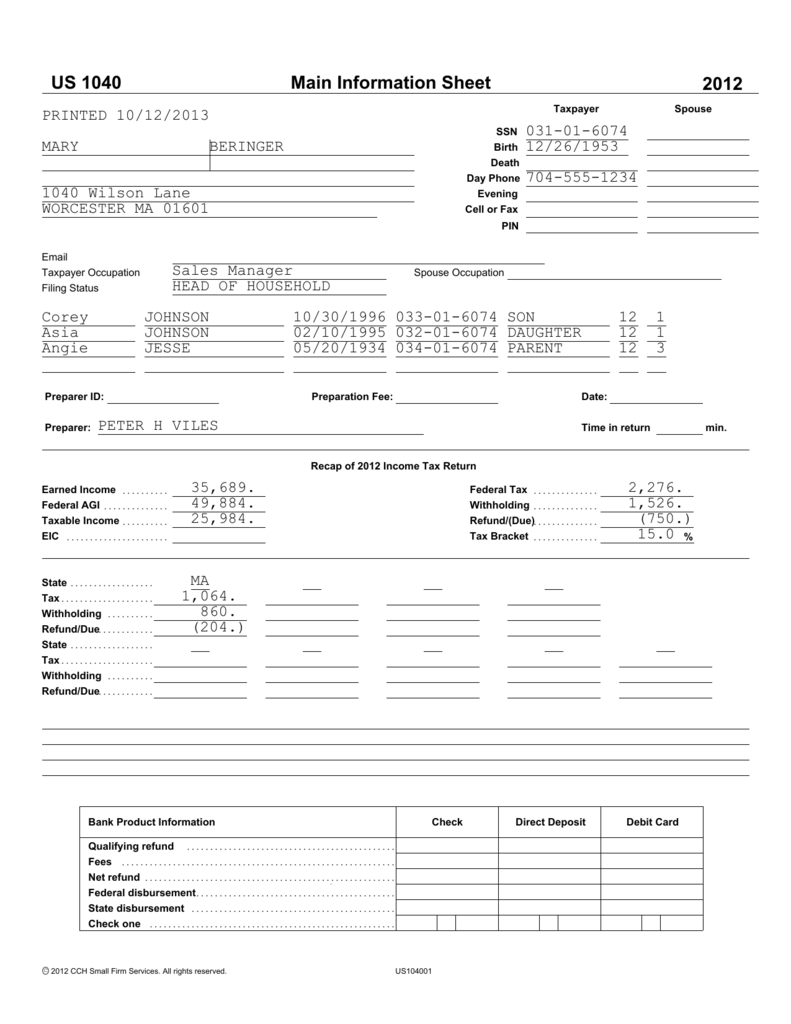 Main Information Sheet US 1040 2012 MA TaxAide – Massachusetts Agi Worksheet