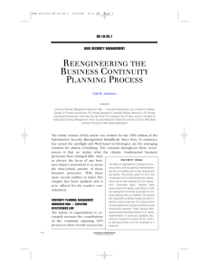 reengineering the business continuity planning process
