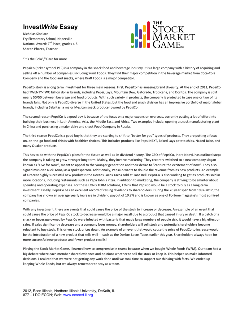 essay on the stock market game Stock market game essay pdf, creative writing el paso, help with writing a personal statement i love this essay a good example of critical thought @hughhewitt @d4pc.