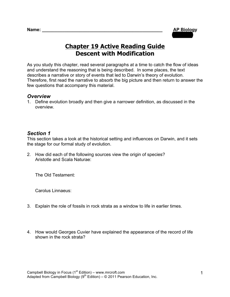 chapter 19 active reading guide rh studylib net AP Biology Reading Guide Ch 15 Fred and Theresa AP Biology Reading Guide Ch 15 Fred and Theresa