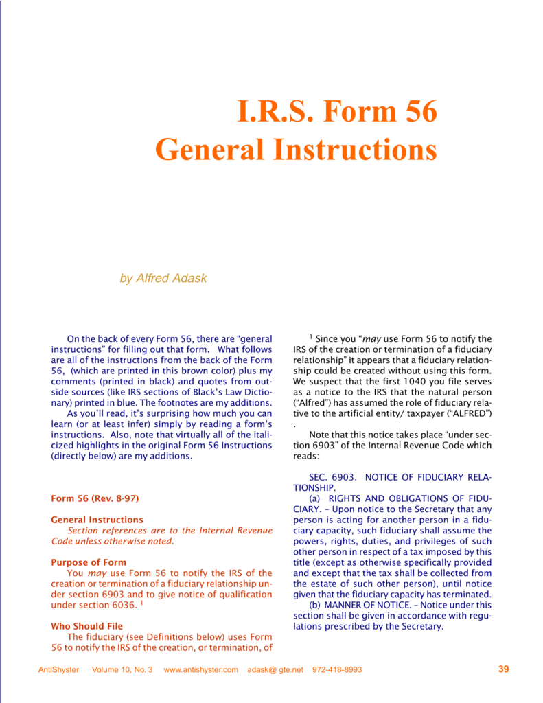 I.R.S. Form 56 General Instructions