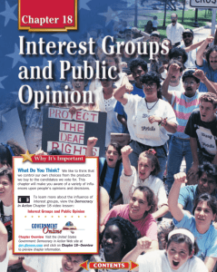 Chapter 18: Interest Groups and Public Opinion