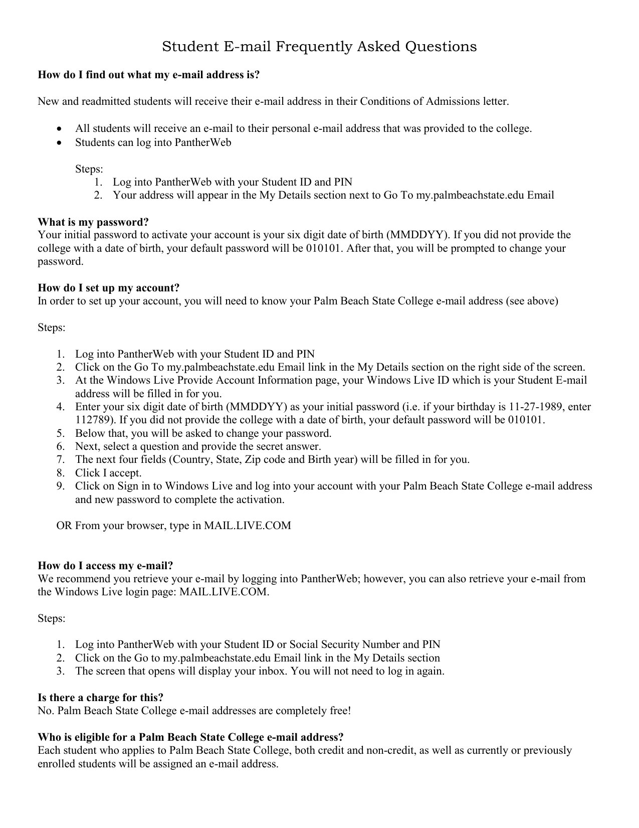 Student E-mail Frequently Asked Questions