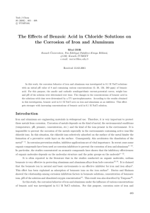 The Effects of Benzoic Acid in Chloride Solutions on the Corrosion of