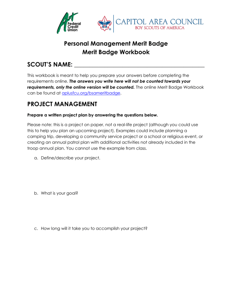 Workbooks eagle scout service project workbook : Project Management Workbook