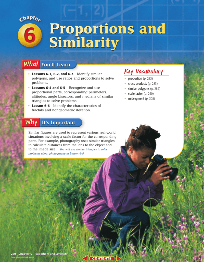 Chapter 6: Proportions and Similarity