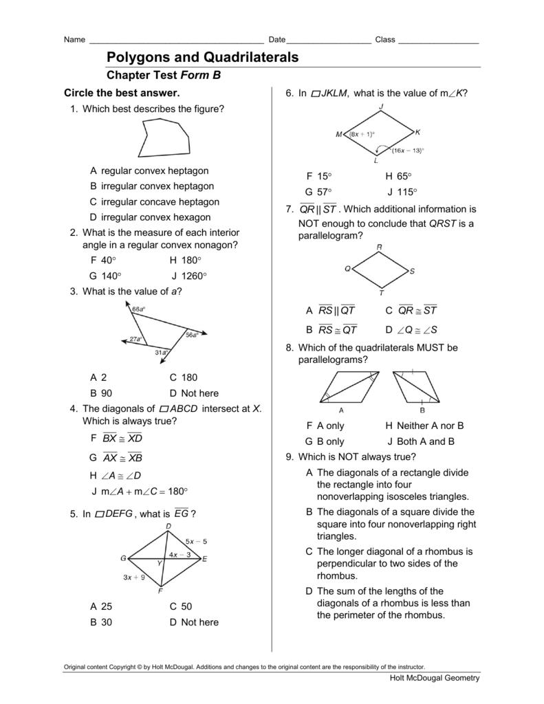 Bestseller: Holt Geometry Chapter 6 Test Answer Key