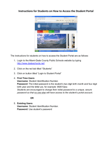 Instructions for Students on How to Access the Student Portal