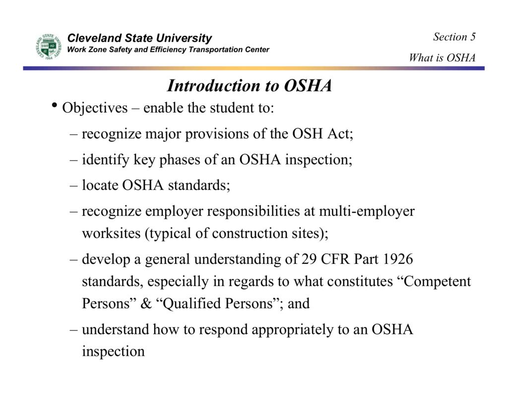 Introduction to OSHA - Academic Csuohio