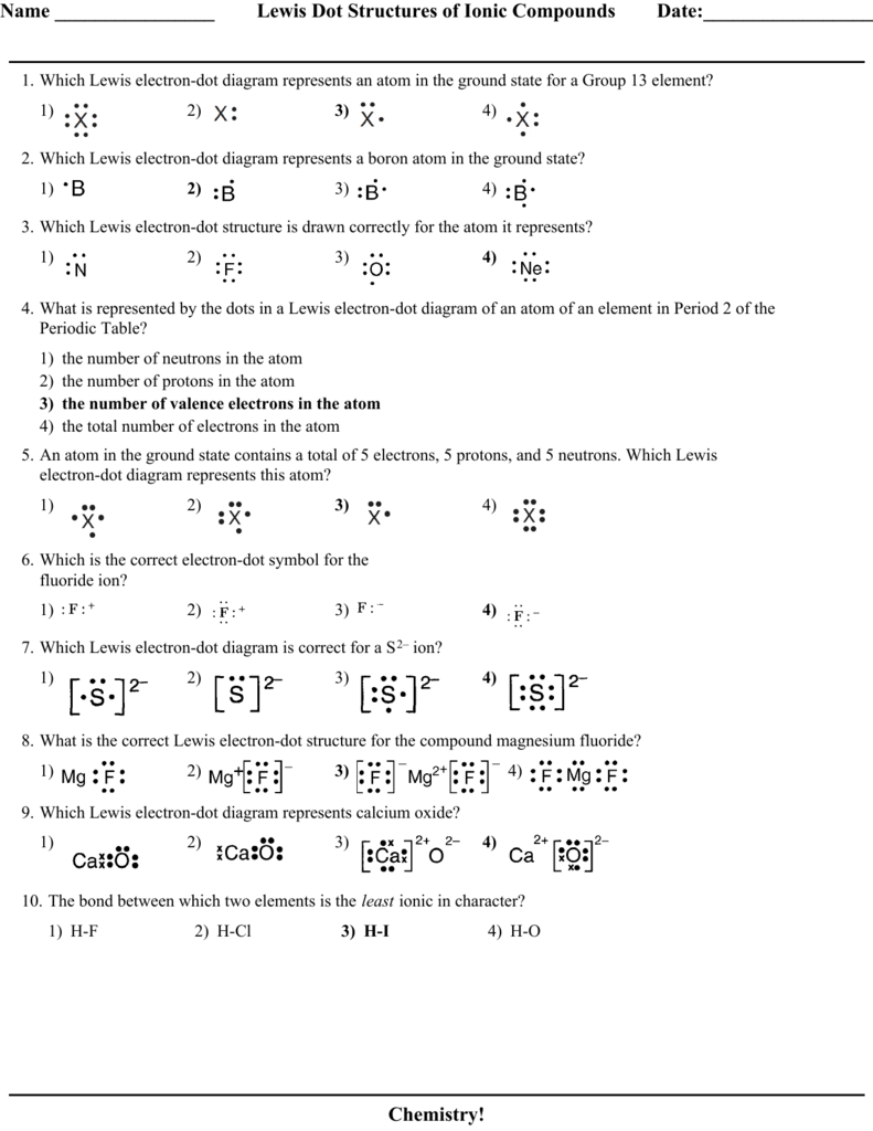 Lewis Dot Structures Of Ionic Compounds Date