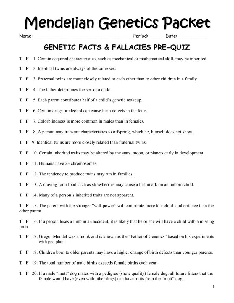 Mendelian Genetics Packet
