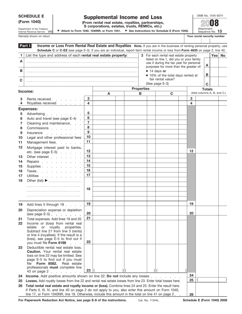 2008 Form 1040 Schedule E Exeter 1031 Exchange Services Llc