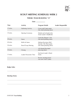 SCOUT MEETING SCHEDULE: WEEK 2