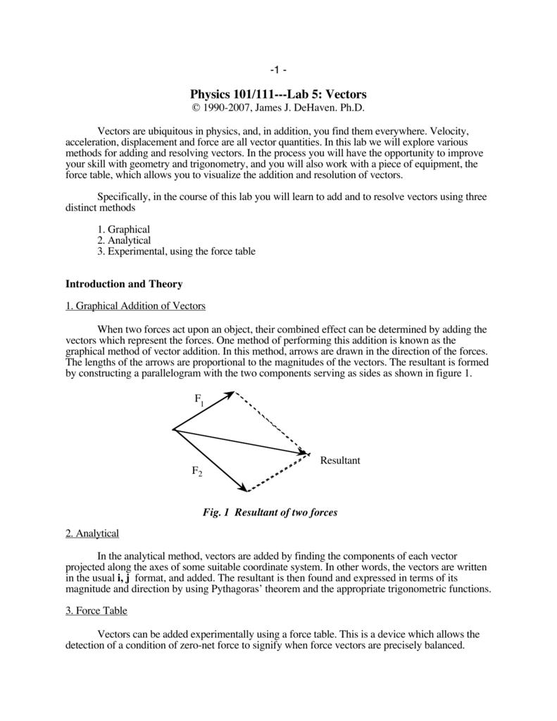 Physics 101/111---Lab 5: Vectors