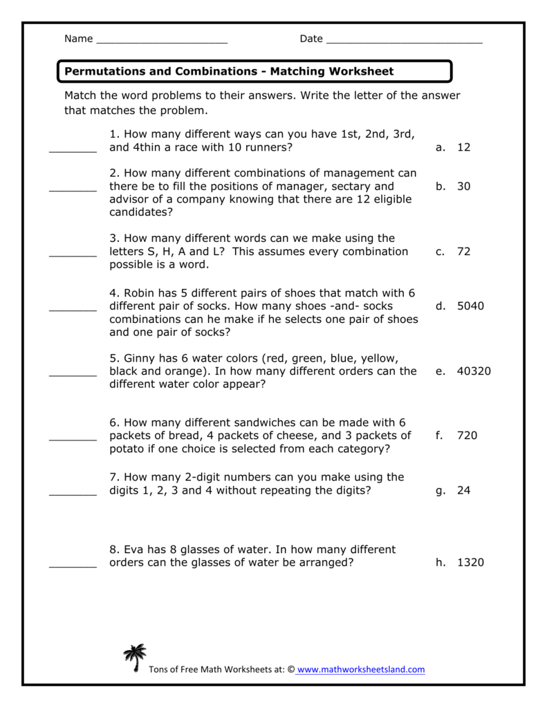 Permutations and Combinations Matching Worksheet