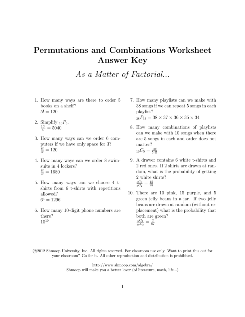 permutations and combinations worksheet answer key. Black Bedroom Furniture Sets. Home Design Ideas