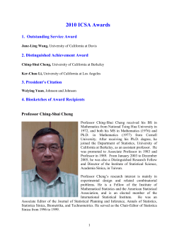 2010 ICSA Awards - International Chinese Statistical Association