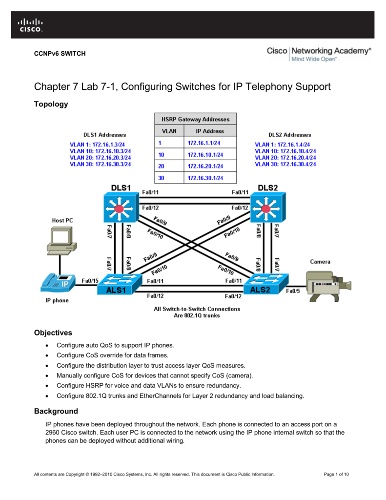 Chapter 7 Lab 7-1, Configuring Switches for IP Telephony Support
