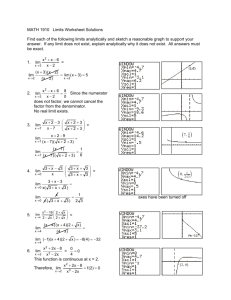 Worksheet Continuity and Limits Math 124 Introduction