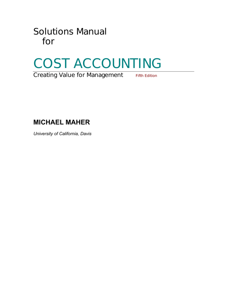 solution for managerial cost accounting for