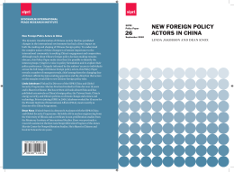 New Foreign Policy Actors in China, SIPRI Policy Paper no. 26