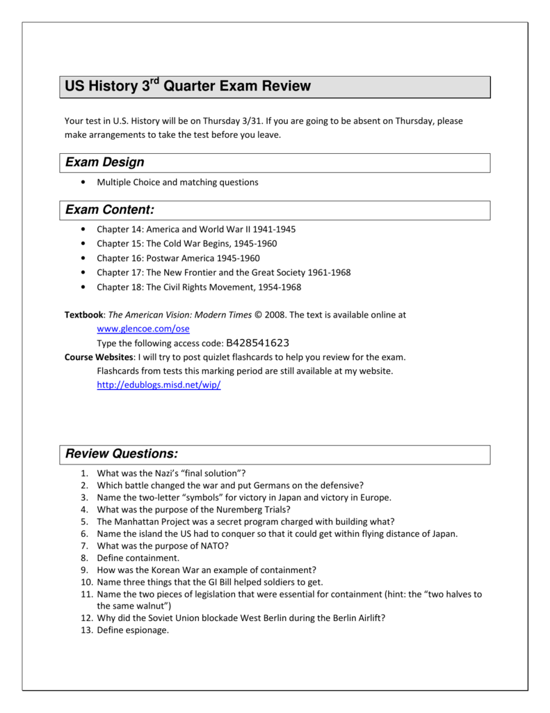 US History 3 Quarter Exam Review