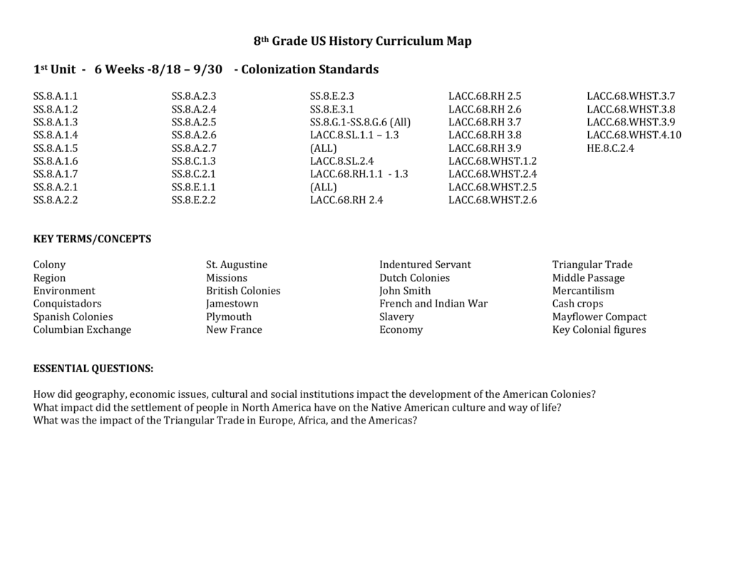 8th Grade Us History Curriculum Map 1st Unit 6 Weeks - Us-history-curriculum-map