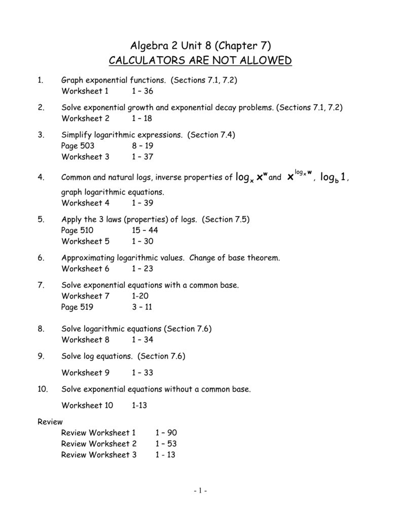 Algebra 2 Unit 8 Chapter 7 – Logarithmic Equations Worksheet