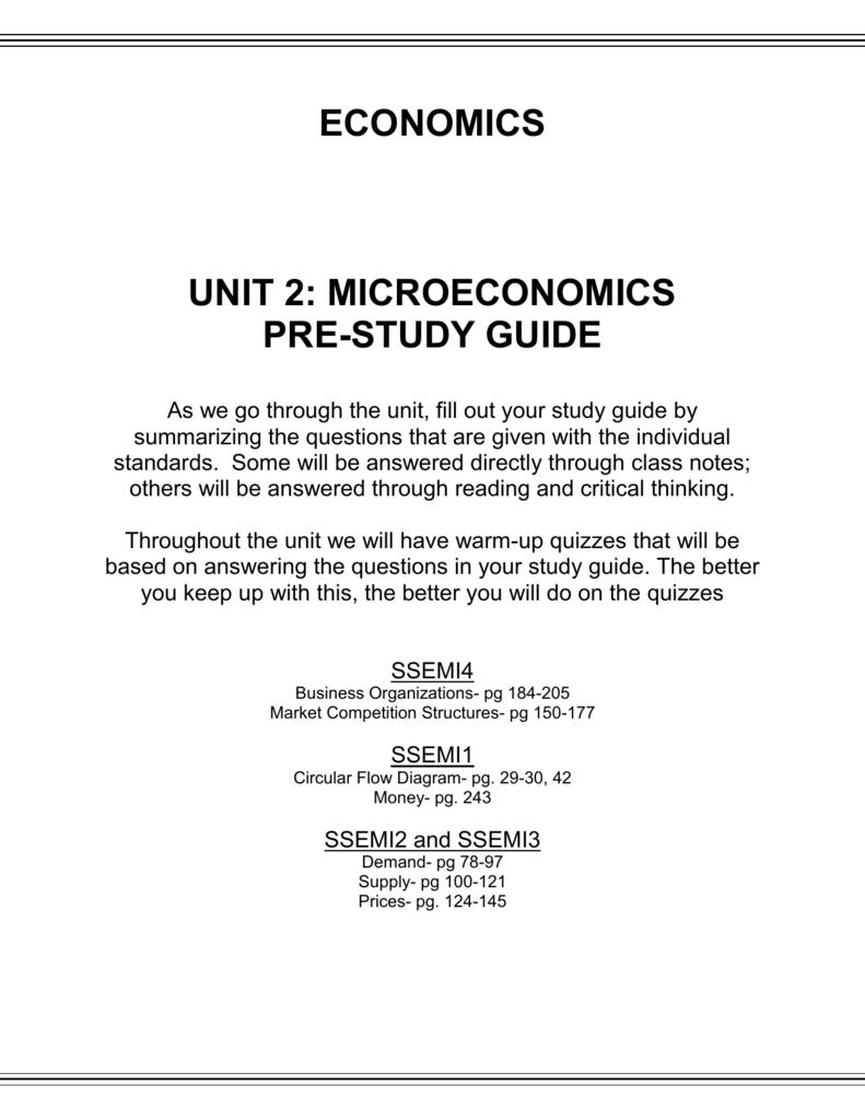Economics unit 2 study guide answers 2 unit 3 study guide array economics unit 2 microeconomics pre rh studylib fandeluxe Images