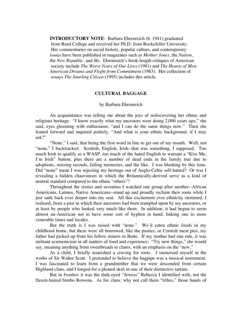 cultural baggage barbara ehrenreich thesis