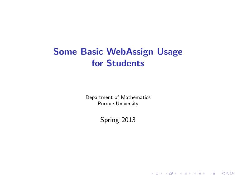 Informations on Webassign
