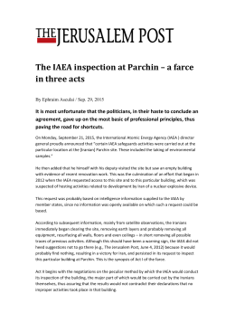The IAEA inspection at Parchin – a farce in three acts