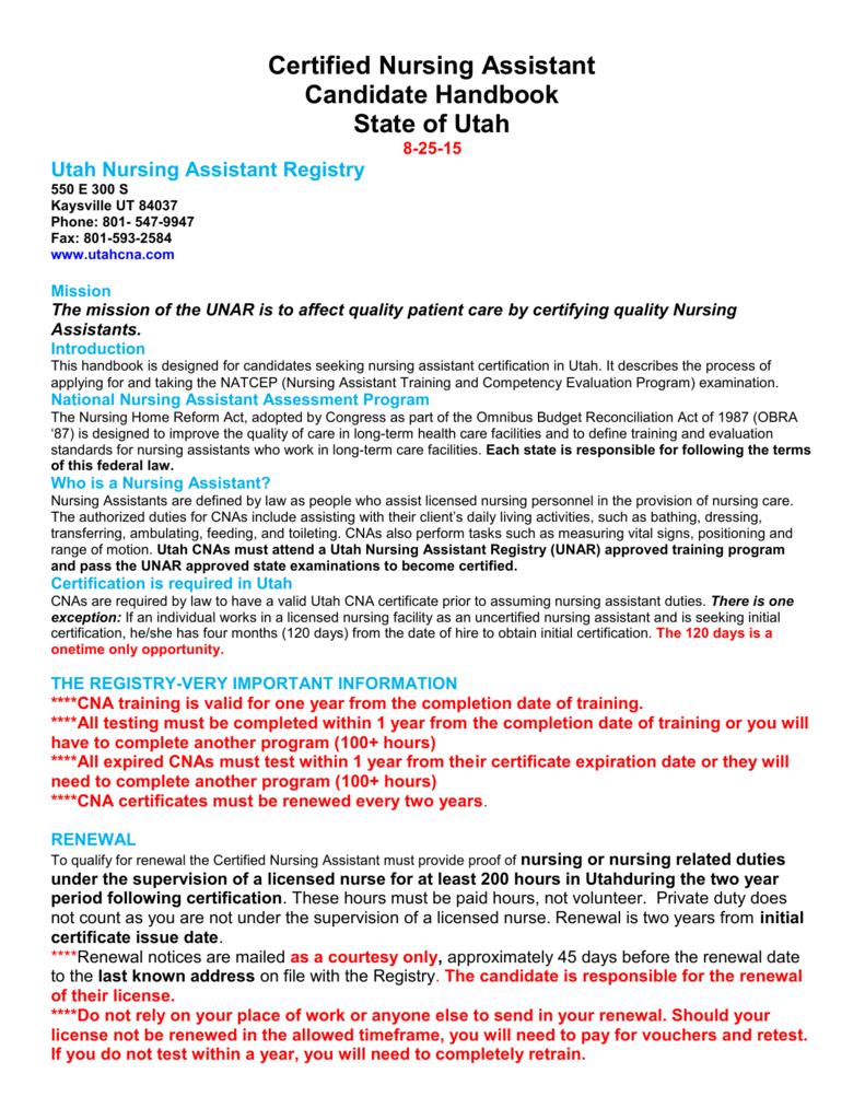 Certified Nursing Assistant Candidate Handbook State Of Utah