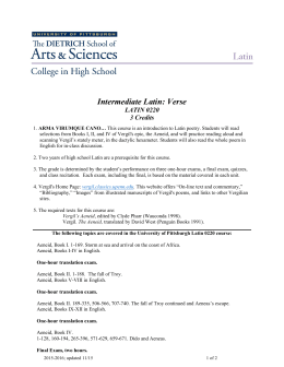 Intermediate Latin: Verse - University of Pittsburgh