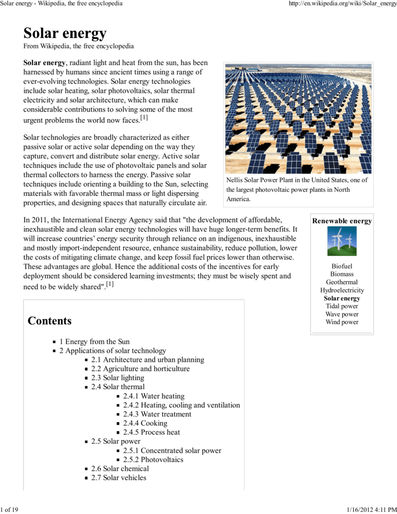 Solar Energy Wikipedia The Free Encyclopedia