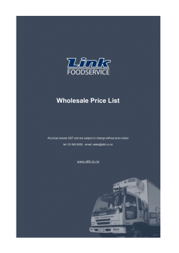 Wholesale Price List