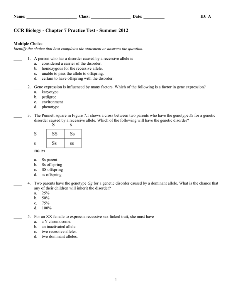 CCR Biology - Chapter 7 Practice Test