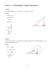 Section 2.3 – Solving Right Triangle Trigonometry