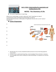 NOTES: The Chemistry of Life.
