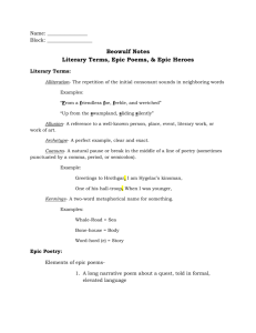 Literary Terms & Epics Notes