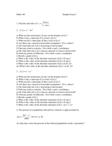 Math 140 Sample Exam 2 1. Find the derivative of y = 4 cosx 2