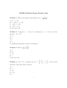 MATH 140 First Exam Practice Test