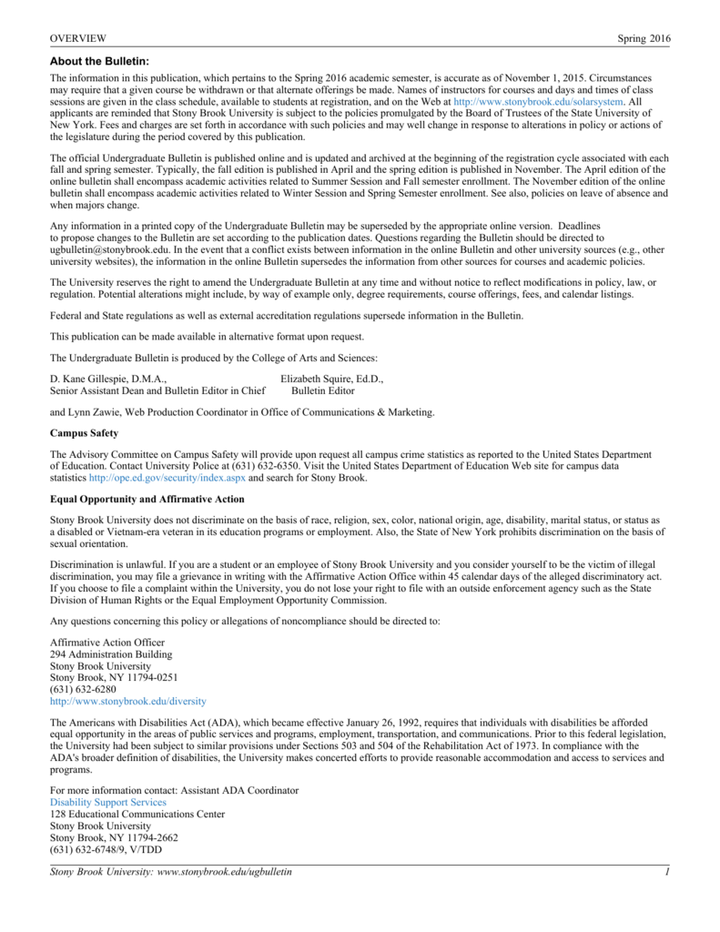 About the Bulletin: - Stony Brook University