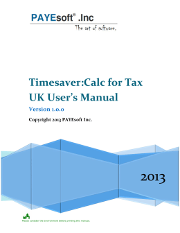 Timesaver:Calc for Tax UK User's Manual