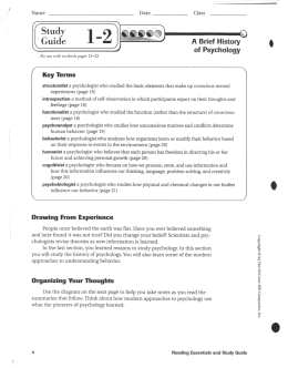 Psychology 1.2 - Worksheet 1-2