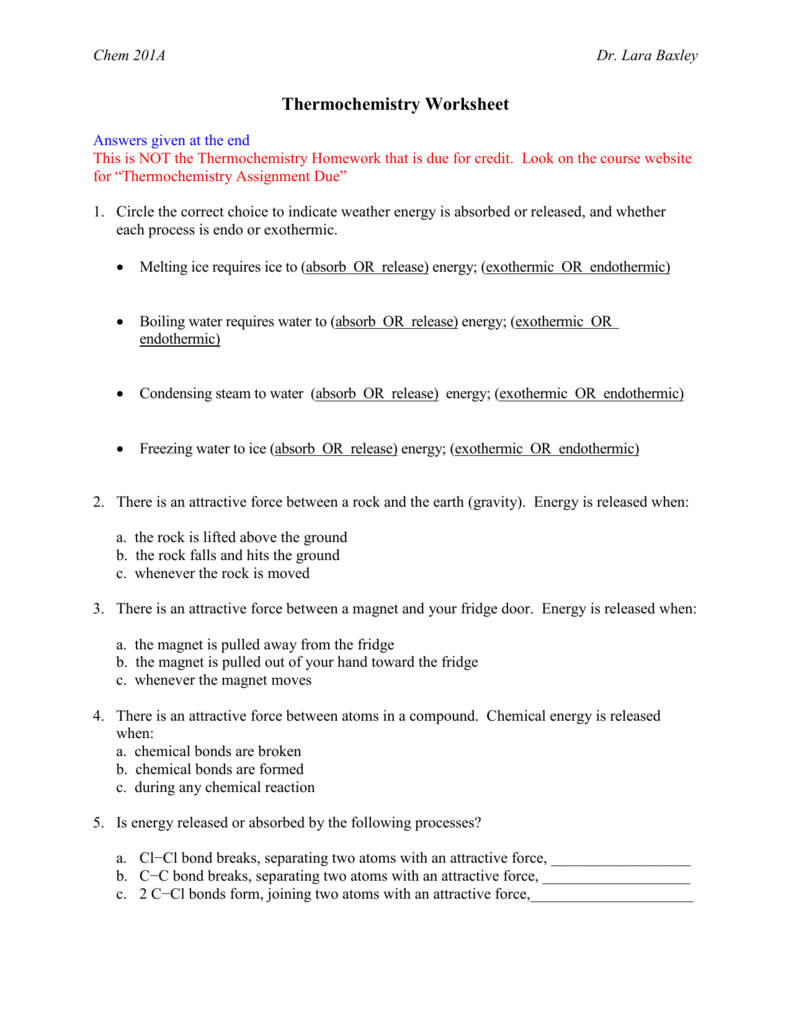 Dr. Baxley's Thermochemistry Worksheet
