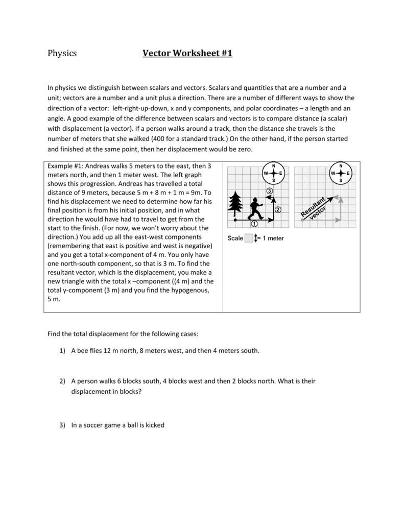 Worksheets Vectors Worksheet physics vector worksheet 1