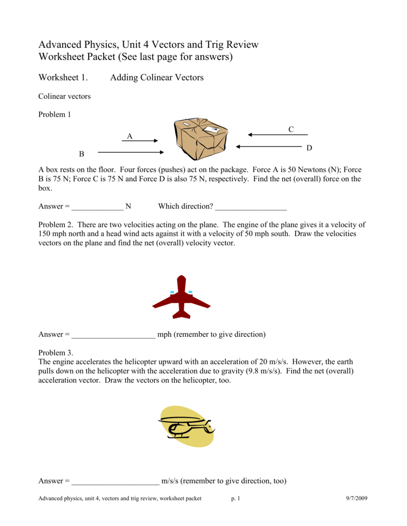 Unit IV Vectors and Projectile Motion Worksheet Packet – Acceleration Worksheets