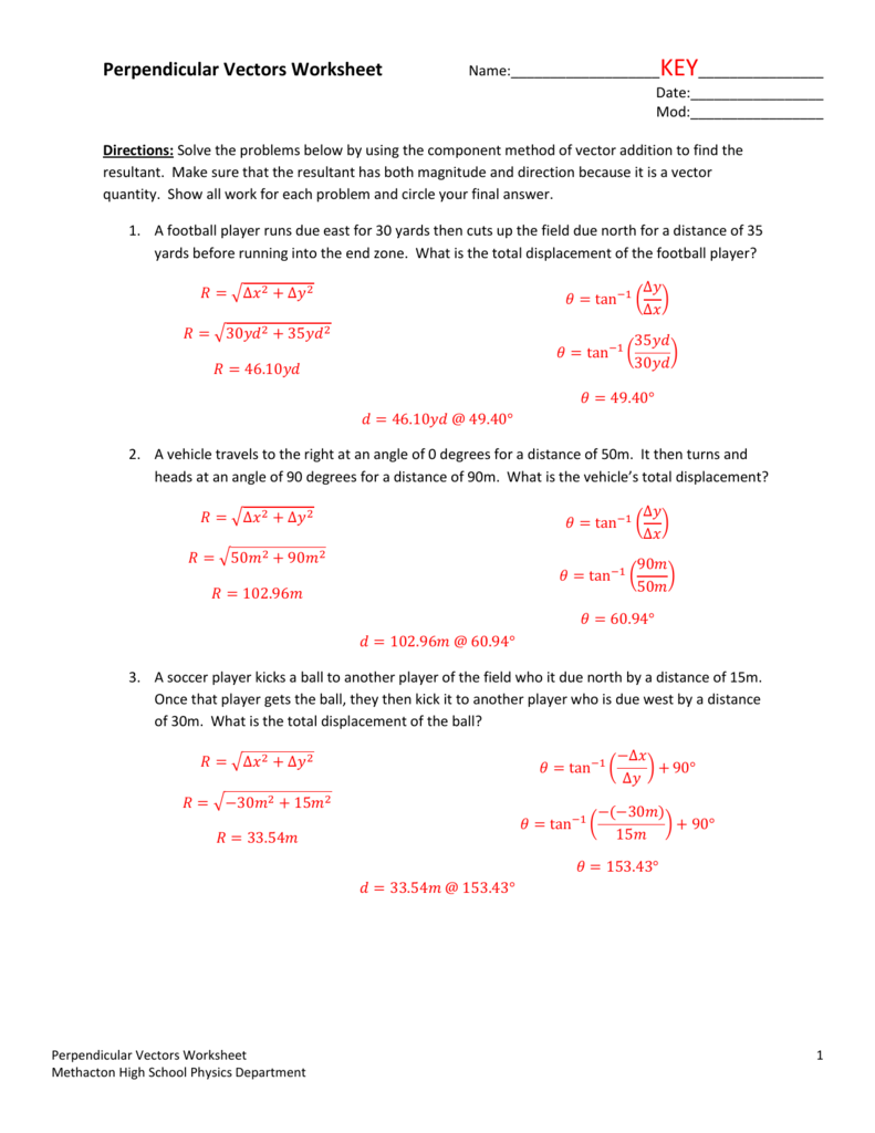 Perpendicular Vectors Worksheet – Distance Displacement Worksheet