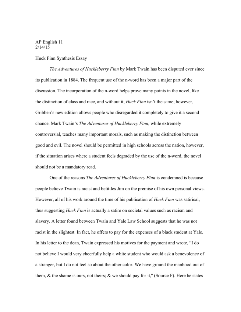 Ap english 11 2 14 15 huck finn synthesis essay the adventures